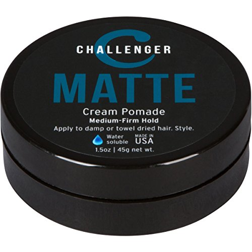 Matte Cream Pomade - Challenger 1.5oz Medium Firm Hold - Water Based, Clean & Subtle Scent. Best Hair Styling Cream, Wax, Fiber, Clay, Paste All In One (Long Hair Wax)