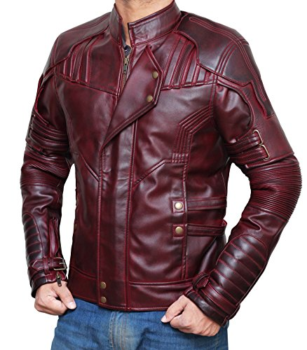 Chris Pratt Guardians Of The Galaxy 2 Peter Quill Star Lord Leather Jacket | Waxed brown, XL