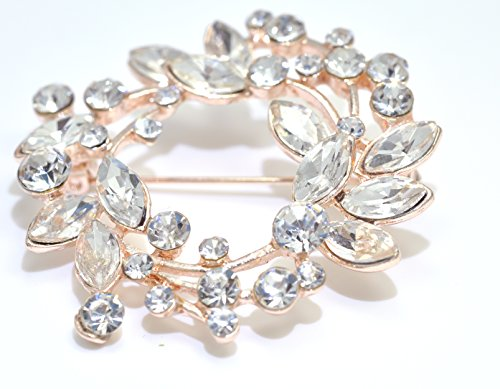 Gyn&Joy Clear Crystal Rhinestone Floral Wreath Pin Brooch BZ005 (Crystal) by Gyn&Joy (Image #3)