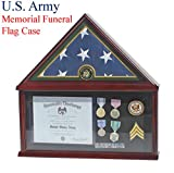 Elegant Memorial/Funeral Flag Display Case Storage Military Shadow Box, for 5'X9.5' flag folded, FC07-ARMY (with Army Medallion)