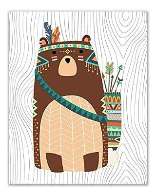 Tribal Woodland Animal Prints - Set of 8 Cute Bohemian Nursery Wall Art Decor Photos 8x10 - Bear - Raccoon - Hedgehog - Rabbit - Fox - Owl - Squirrel - Deer