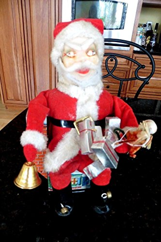 Vintage Santa Claus Tin Toy Battery Operated Japan sits on roof bell eyes light