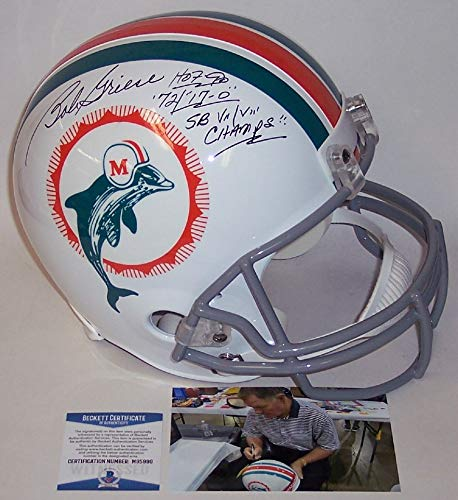 Bob Griese Autographed Hand Signed 1972 Miami Dolphins Full Size Throwback Football Helmet - with 17-0, 2x Super Bowl Champs & HOF 90 Inscriptions - BAS Beckett Authentication