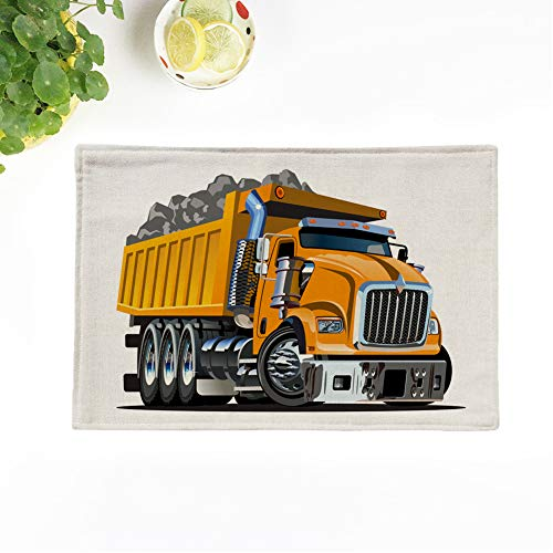 Topyee Set of 6 Placemats Cartoon Dump Truck Available Format Separated by Groups and Layers for Easy Edit 17x12.5 Inch Non-Slip Washable Place Mats for Kitchen Dinner Table Mats Parties Decor from Topyee