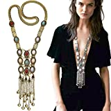 Miraculous Garden Womens Vintage Alloy Silver/Gold Long Ethnic Tribal Boho Beads Fringe Necklace Bohemia Style