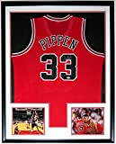 Scottie Pippen Signed Authentic Chicago Bulls Jersey - PSA DNA COA Authenticated - Custom Framed & 2 8x10 Photo 34x42