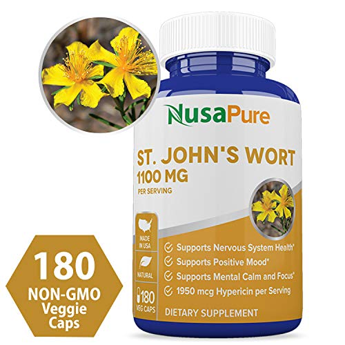 St. John's Wort 1100mg 180 Veggie Capsules (Non-GMO & Gluten Free) 1950mcg Hypericin Saint Johns Wort for Mood, Anxiety & Depression Support (550mg per Capsule) - 100% Money Back Guarantee (Best Antidepressant For Severe Depression And Anxiety)