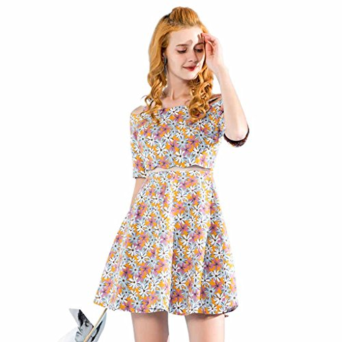 Floral Sling Cocktail Slim New Summer Korean Dress Spalla Off Stampa Skirt wnWqC1gp
