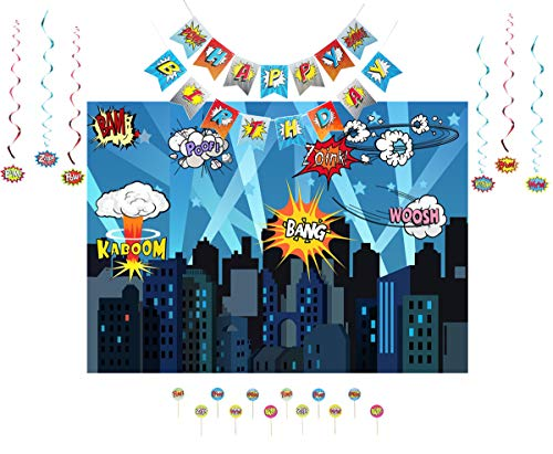 Super Hero Photo Backdrop, Super Hero Happy Birthday Banner Pennant, Paper Super Hero Hanging Swirls and Super Hero Cup Cake Topper for Baby Shower Birthday Party and Event Decorations ()