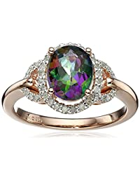 Sterling Silver with Pink Gold Plating Mystic Fire Topaz and Diamond Ring (1/10cttw, I-J Color, I3 Clarity), Size 7