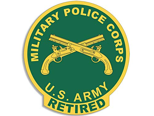 (JR Studio 4x4 inch Round US Military Police Corps Retired Seal Sticker -Decal MP Logo Army Vinyl Decal Sticker Car Waterproof Car Decal Bumper Sticker)
