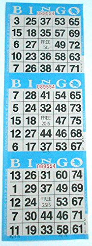 - 3 on Blue Bingo Paper Cards - 1000 cards