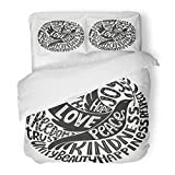 SanChic Duvet Cover Set Lettering Dove Peace Values Words Love Faith Joy Hope Kindness Unity Beauty Respect Trust Justice Decorative Bedding Set Pillow Sham Twin Size