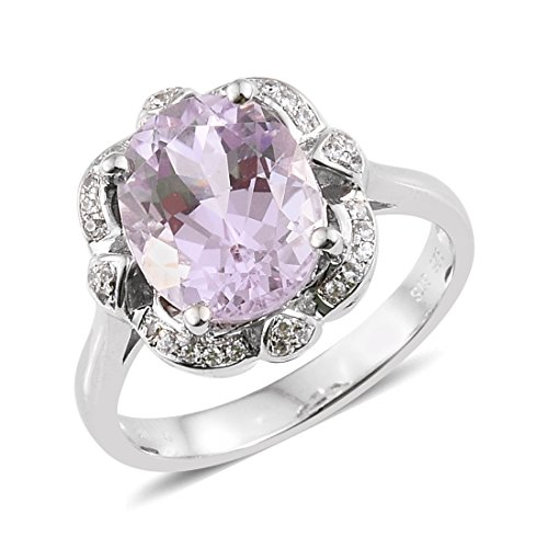 Kunzite Zircon Rhodium Plated Silver Big And Bold Ring 4.11 cttw. Size (Kunzite Ring)