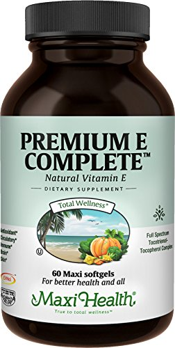 Maxi Health Premium E Complete | Gluten-Free 200 IU Vitamin E Capsules | All-In-One Supplement for Nutritional Support, Heart Health, and Immune System - 60 Kosher Capsules | NO SYNTHETICS