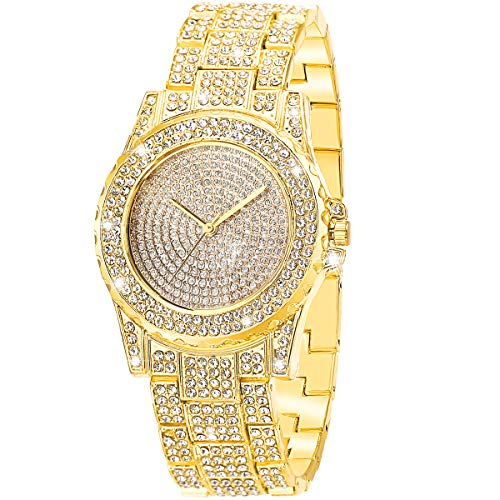 ManChDa Luxury Ladies Watch Iced Out Watch with Quartz Movement Crystal Rhinestone Diamond Watches for Women Stainless Steel Wristwatch Full Diamonds from ManChDa
