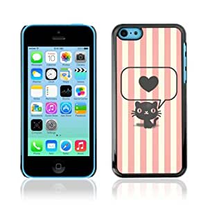 YOYOSHOP [Cute Stiped Cat & Heart] Apple iPhone 5C Case