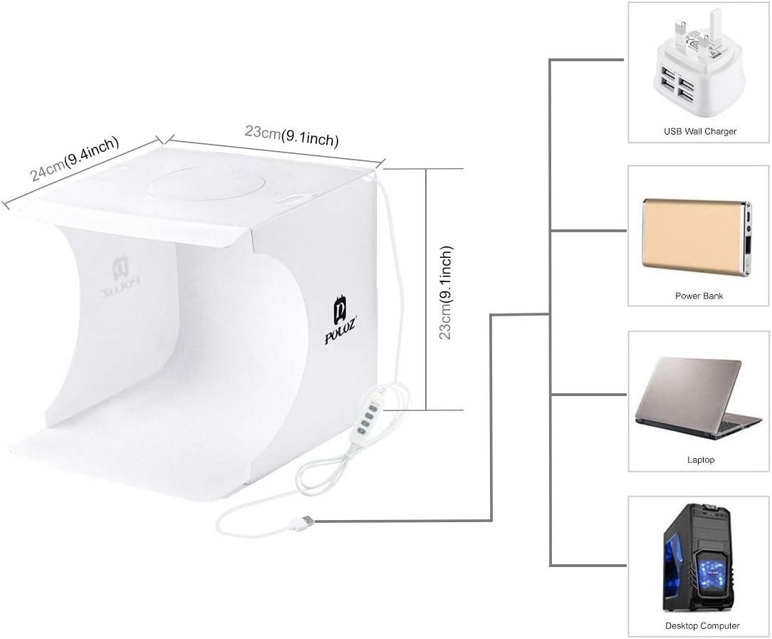20cm Ring LED Panel Folding Portable Light Photo Lighting Studio Shooting Tent Box Kit with 6 Colors Backdrops Black, White, Orange, Red, Green, Blue Unfold Size: 24cm x 23cm x 22cm Durable
