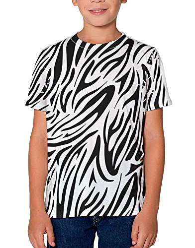 (TooLoud Zebra Print Youth T-Shirt Single Side 12 yrs All Over Print White)