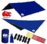 Chill Gorilla 12x12 Hammock Rain Fly Tent Tarp Waterproof Camping Shelter. Essential Survival Gear. Stakes Included. Lightweight. Easy to Setup. Made from Diamond Ripstop Nylon. Camp Accessories Blue