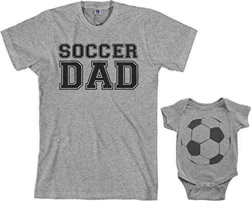 Soccer Dad & Soccer Ball Infant Bodysuit & Men's T-Shirt Matching Set (Baby: 12M, Sport Gray|Men's: L, Sport Gray)