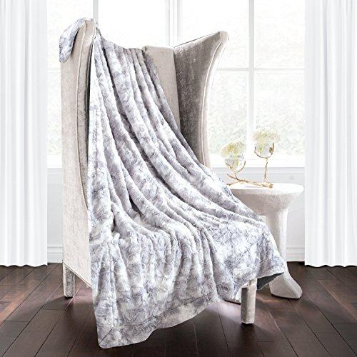 Italian Luxury Super Soft Faux Fur Throw Blanket - Elegant Cozy Hypoallergenic Ultra Plush Machine Washable Shaggy Fleece Blanket - 60 inches x 70 inches - Light Gray
