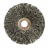2'' Brush OD x 3/8'' Face Width, 1/2'' Arbor Hole, Crimped Stainless Steel Wheel Brush