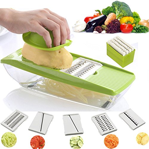 UFire Mandoline Slicer with 5 Interchangeable Stainless Steel Blades,Food Container - Vegetable Cutter, Peeler, Slicer, Grater & Julienne Slicer for for Cucumber, Onion, Cheese...