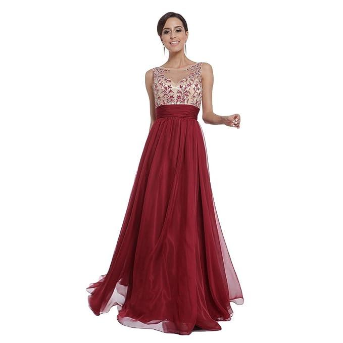 WintCo Vestido Largo Rojo Traje de Ceremonia para Baile para la Fiesta Restero Elegante Sin Manga