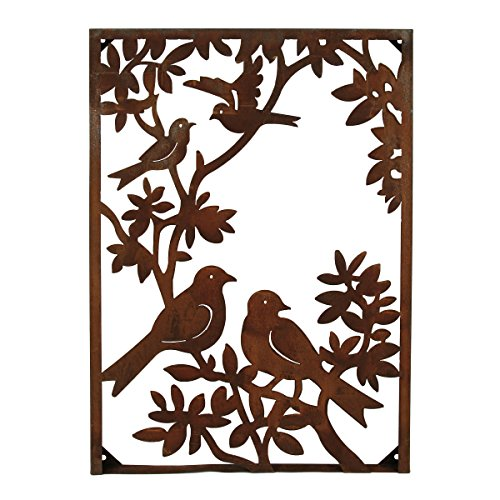 Foreside FWAD00662 Metal Birds On A Tree Vertical Wall, Gold