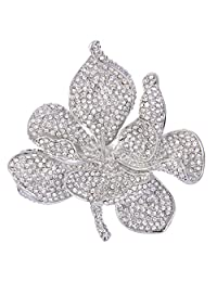 Ever Faith Women's Austrian Crystal Valentines' Gifts Orchid Flower Petal Brooch