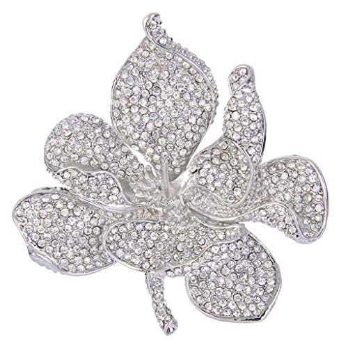 EVER FAITH Women's Austrian Crystal Orchid Flower Petal Brooch Clear Silver-Tone ()