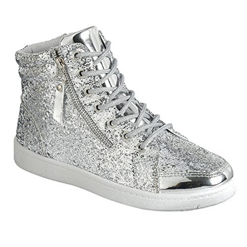 Forever Link Womens Hi Top Glitter Sneakers, Silver 10