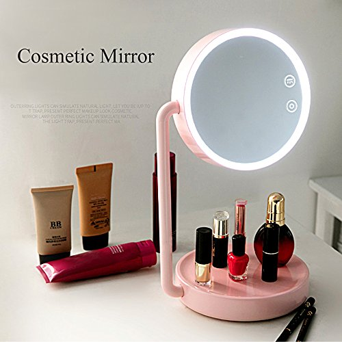 AOTOSOLO Makeup Mirror, 2 in 1 Vanity Mirror with Smart Touch Screen, Adjustable LED Table Reading Lamp, Cordless Portable Night Light for Bedroom, Christmas Gift (pink)
