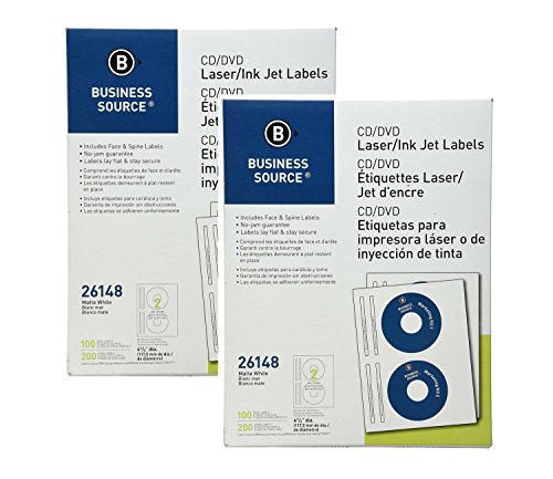 Business Source CD/DVD For Laser And Inkjet Printers Face and Spine Acid Free Permanent Adhesive 200 Labels (2 Pack)