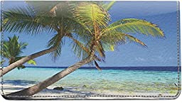 Palm Trees Leather Checkbook Cover