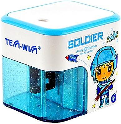 caja cuadrada azul con pilas sacapuntas para los niños, pequeña mecánica de corte eléctrico para el profesor: Amazon.es: Hogar