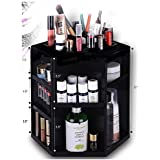 HiCollie Makeup/Cosmetic Organizer 360 Rotating /Revolving Cosmetic Storage Tabletop Big Capacity Carousel New Sturdy Stylish 2016 Black