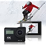 4K WiFi Action Camera HD Waterproof Sport Camera 2 inch LCD Screen 16MP 170 Degree Wide Angle 2 Rechargeable Battery 900mAh and 18 Accessory Kits