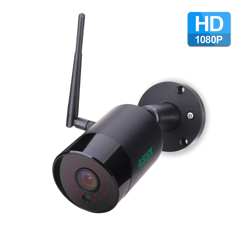 4SDOT Outdoor Security Camera 1080P Wireless IP Cameras HD Night Vision WiFi Surveillance Video Cam IP66 Waterproof Bullet CCTV Camera Two Way Audio Motion Detection Support 128GB SD Card by 4SDOT