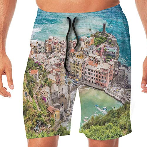 Haixia Mens Summer Swimming Trunks Coastal Decor View Vernezza Famous Fishe