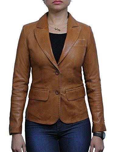 Ladies Womens Slim Fit Leather Biker Blazer Jacket Designer Look Coat (2X-Large 16) Tan
