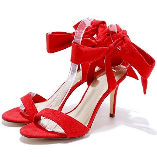 COOLCEPT Mujer Moda Cordones Sandalias Tacon de Aguja Slingback Sandalias Punta Abierta Zapatos Rojo