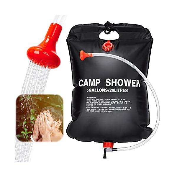 51dpWLvR6aS Sunshine smile Campingdusche Solardusche Tasche,20L Camping Dusche Set,Solardusche Camping,Tragbare Solar Wassersack,für…