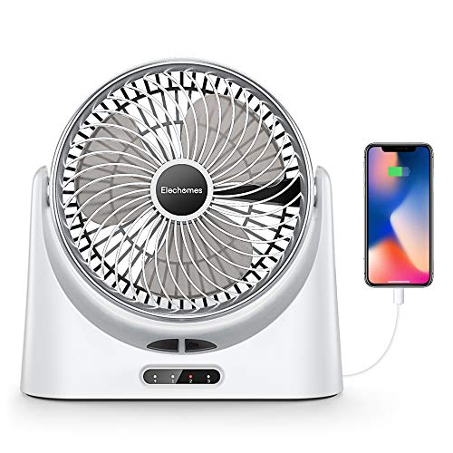 Elechomes USB Desk Fan Small Personal Air Circulator Fan Portable Electric Table Desktop Fan Rechargeable Travel Fans for Camping Office Room Outdoor, with Power Bank Function and LED Light, 10