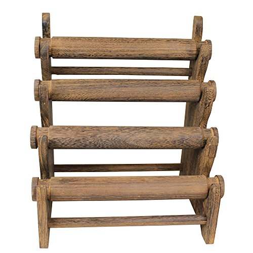 Review Ikee Design Antique Brown Color Wooden 4 Tier Bar Bracelet / Bangle Jewelry Holder Stand Display Organizer