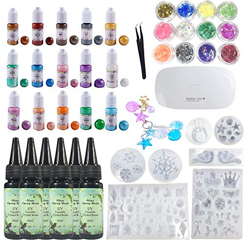 UV Crystal Clear Epoxy Resin 180ml with 7 Silicone Molds Ocean Starfish Shells Snowflake + 15 Pearlescent Shimmer Color Pigment + Holographic Glassine Set + Compact Mini UV Lamp + Tweezers