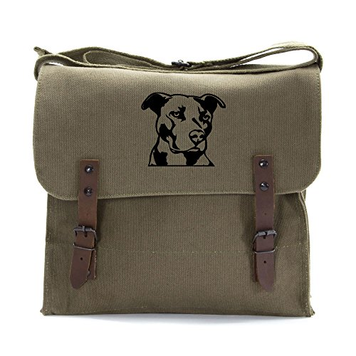 Pitbull Silhouette Army Heavyweight Canvas Medic Shoulder Bag in Olive