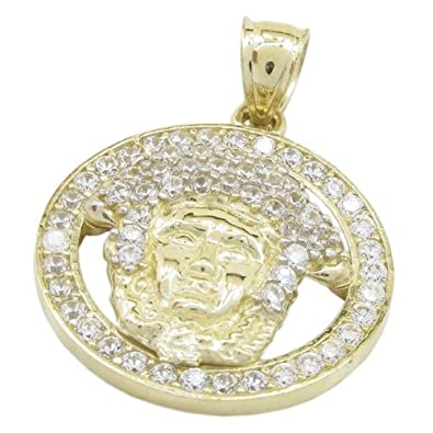 Amazon mens 10k yellow gold yellow gold versace medusa cz mens 10k yellow gold yellow gold versace medusa cz pendant ligs14 mozeypictures Image collections
