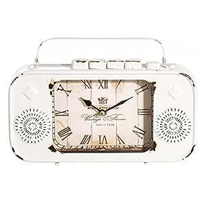 Reloj Decorativo de Metal Blanco Vintage para salón France - LOLAhome